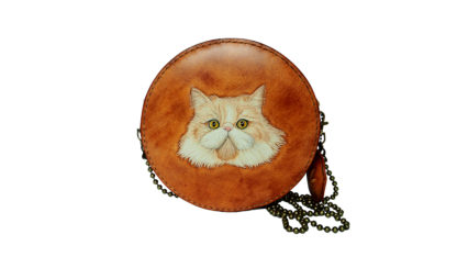 Cat Leather Hat Box