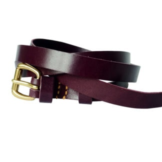 Skinny Leather Belt (Plum)